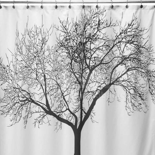 Buy Big Black Tree Design 180 * 180cm Bathroom Waterproof Fabric Bath Shower Curtain+12 Ring Hooks