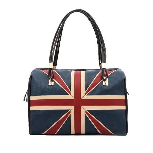 Buy British Vintage Women Handbag Flag Pattern PU Leather Fashion Totes Retro Shoulder Bag Black