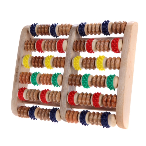 Buy 6 Rows Wheelw Wooden Massager Colorful Reflexology Stress Roller Relax Relief Foot