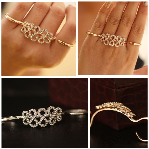 Korean Fashion Rings Double Refers Opening Personalized Ring Crystal Flower Ring от Tomtop.com INT