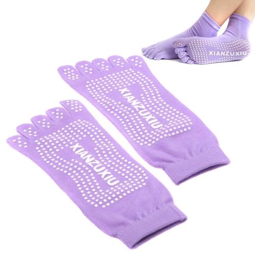 Buy Yoga Socks 5-Toe Fashion Deodorant Breathable Cotton Non-slip Comfortable Foot Massage Purple