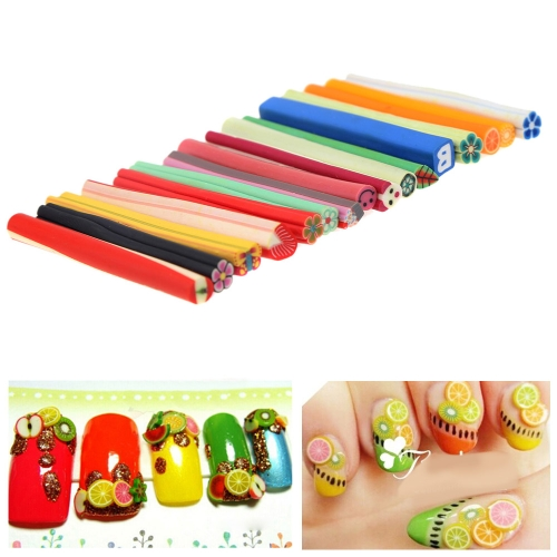 Buy 10Nail Art 3D Polymer Clay Bar Sticker Butterfly Heart Flower Smile Manicure Nail Tips Decal Accessory