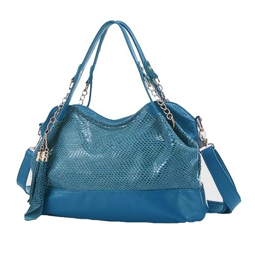 Buy Fashion Women Shoulder Bag Snakeskin Pattern PU Leather Tassels Chain Handbag Crossbody Tote