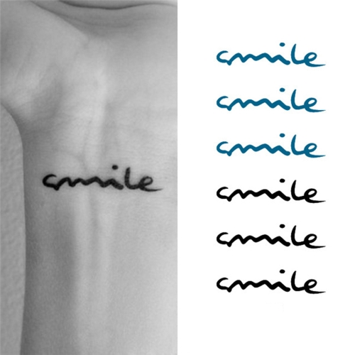 Buy Tattoo Sticker Smile Letters Pattern Waterproof Temporary Tattooing Paper Body Art
