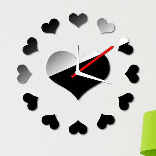 Buy Loving Heart Wall Clock Sticker Set Creative DIY Mirror Effect Acrylic Glass Decal Home Removable Decoration