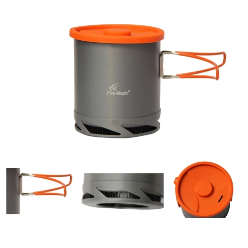 Portable Anodized Aluminum 1L Fire Maple FMC-XK6 Heat Collecting Exchanger Pot Cup Outdoor Camping Picnic Cookware Drawstring Mesh Bag