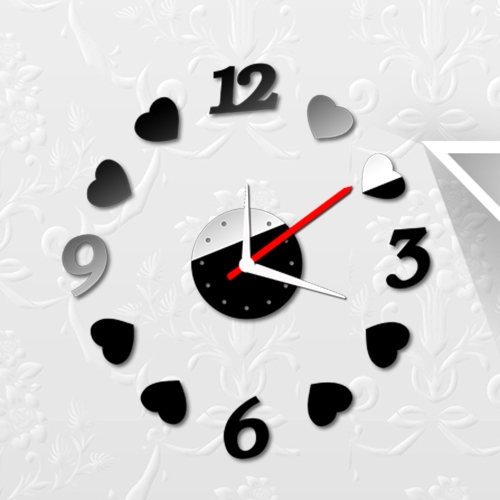 Buy Creative Digits Loving Heart Wall Clock Stickers Set DIY Mirror Effect Acrylic Glass Decal Home Removable Decoration