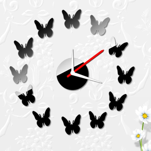 Buy Creative 12 Butterflies Wall Clock Stickers Set DIY Mirror Effect Acrylic Glass Decal Home Removable Decoration
