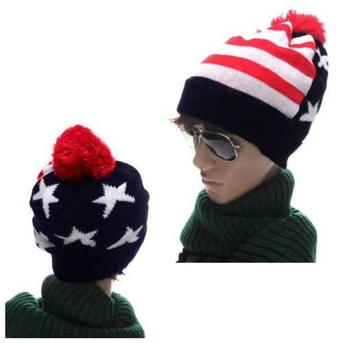 Autumn Winter Men Women Knitted Hat American Flag Star Stripes Bobble Beanie Ski Hat Thick Cap Unisex Headwear Blue & Red