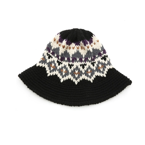 New Fashion Women Knitted Bucket Hat Jacquard Pattern Crochet Vintage Winter Fisherman Hat