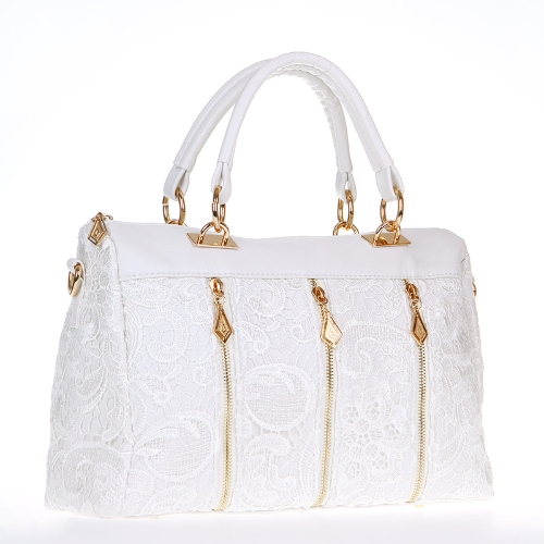 Buy Women's Lady Retro Lace Handbag PU (Faux) Leather Tote Crossbody Shoulder Bag White
