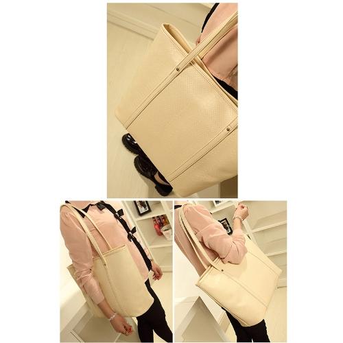 Buy Fashion Retro Women Lady Handbag Crocodile Pattern PU Leather Shopper Tote Satchel Hobo Shoulder Evening Bag Beige