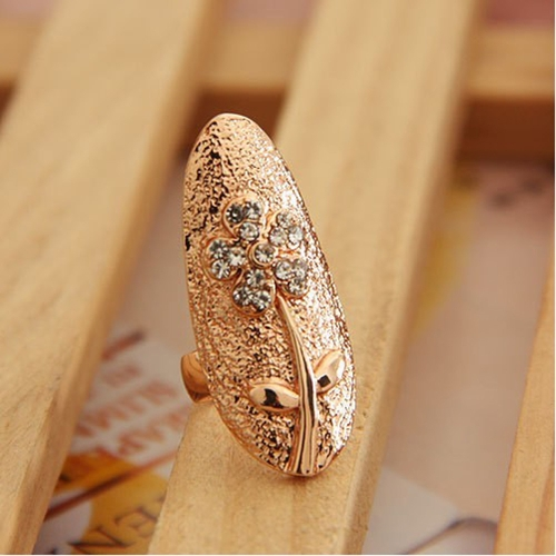 Flowers Leafs Crystal Finger Nail Art Golden Jewelry Ring Fashion Charming от Tomtop.com INT