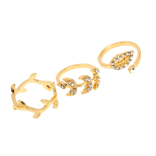 1 Set of 3pcs Lady Girl Pretty  Sweet Crystal Rhinestone Leaves Leaf Knuckle Finger Rings Set от Tomtop.com INT