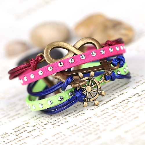 Buy Fashion Vintage Retro Punk Rock Multilayer Leather Braided Pendants Bracelet Bangle Jewelry Accessory