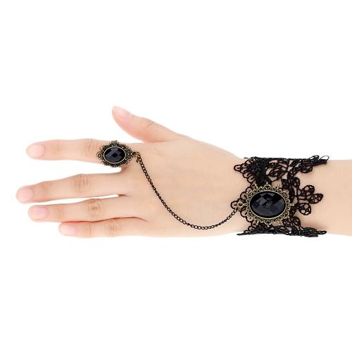 Buy Retro Vintage Gothic Lolita Vampire Crystal Rhinestone Chain Black Lace Bracelet Bangle Ring Party Wedding Bride Bridesmaid Jewelry Accessories Women Girls