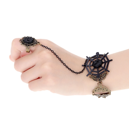 Buy Retro Vintage Gothic Lolita Crystal Rhinestone Personality Lace Black Spider Web Alloy Bracelet Bangle Ring Party Dance Wedding Jewelry Accessories Women Girls