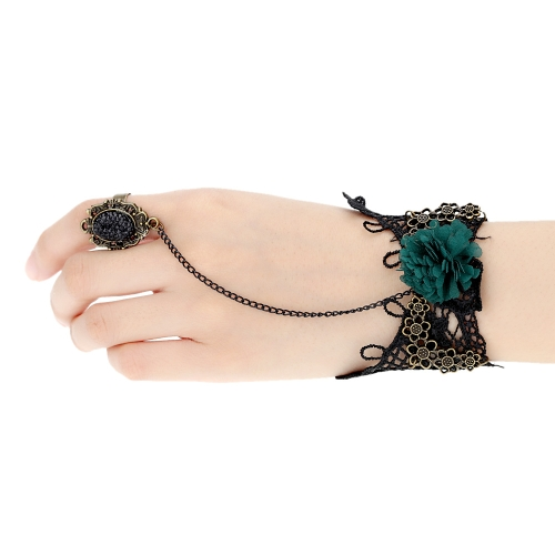 Buy Retro Vintage Gothic Party Wedding Accessories Jewelry Green Flower Black Lace Bracelet Bangle Crystal Rhinestones Ring Finger Set Women Girls