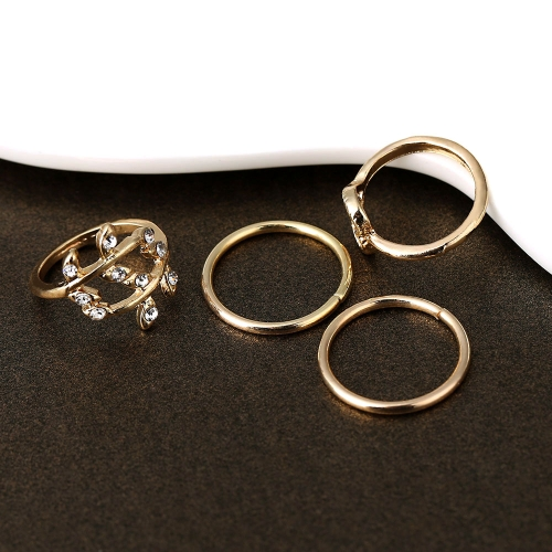 4PCS/Set Fashion Rings Gold Plated Crystal Plain Above Knuckle Ring Mix Shape от Tomtop.com INT