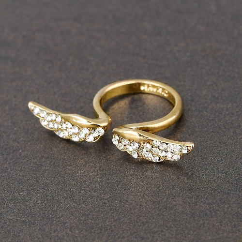 Adjustable Vintage Angel Wing Gold Plated Crystal Rhinestone Fashion Charming Design Ring for Lovers от Tomtop.com INT