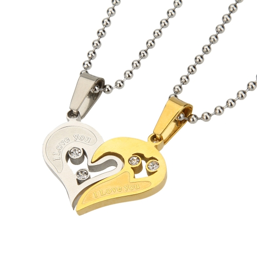 Buy Couple Lovers Stainless Steel Necklace Sets Love Heart Shape Pendant Ball Bead Chain