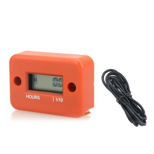 Digital Hour Meter Gauge LCD for Gasoline Engine Racing Motorcycle ATV Mower Snowmobile 0.1/99999Hrs Orange