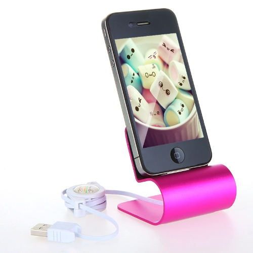 Buy Aluminum USB Dock Cradle Station Stand Charger Cable iPhone 4/4S Rose
