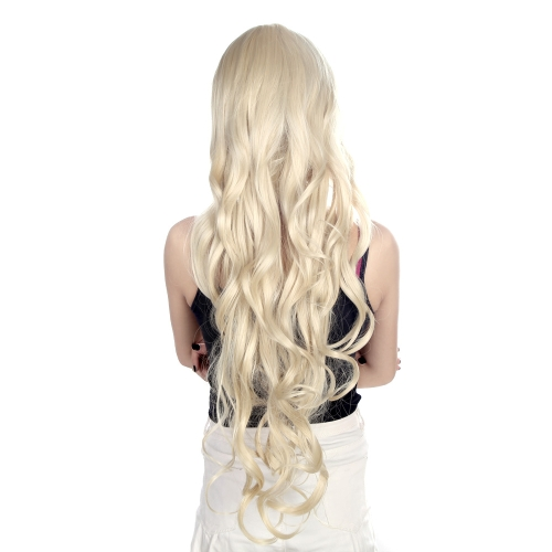 Buy 80cm Fashion Long Wave Cosplay Wig Women's Curly Wavy Hair Anime Light Golden