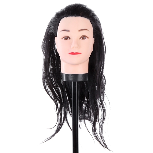 Hairdressing Training Practice Head Long Hair Black Dummy Model Mannequin Cut