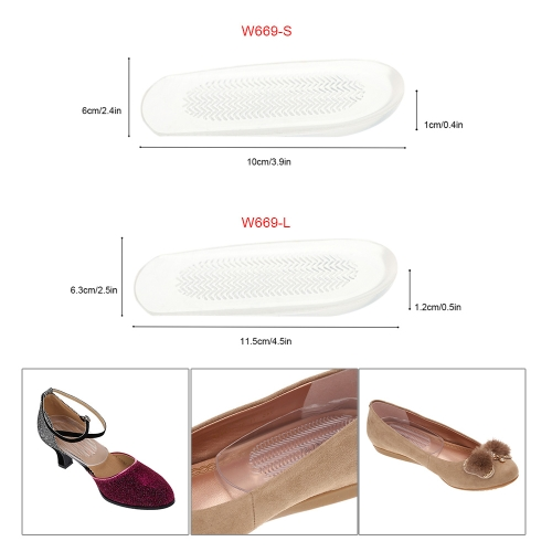 1 Pair Transparent Foot Heel Cups Cushion PU Shoe Pads Half Insoles Anti-slip Feet Care Protector