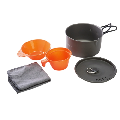 ALOCS CW-S03 1-2 People Aluminum Portable Ultralight Outdoor Non-Stick Camping Hiking Backpacking Cooking Picnic Cookware Cup Bowl Pot Dishcloth Set