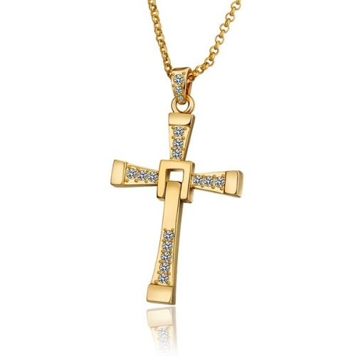 Buy Trendy Antiallergic18K Real Gold Plated Cross Pendent Necklace Women
